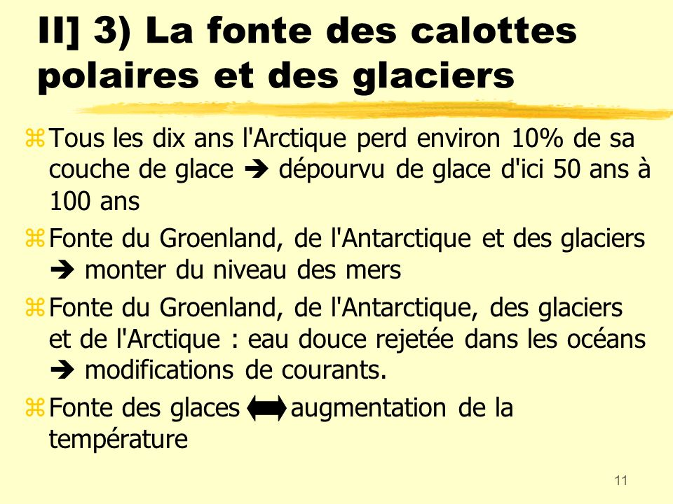 II] 3) La fonte des calottes polaires et des glaciers